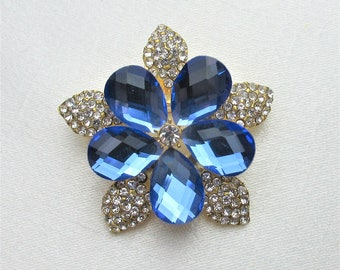 Blue Crystal Rhinestone Brooch,Crystal Rhinestone Jewelry Brooch,Bridal Bouquet Brooch, Wedding Sash Brooch