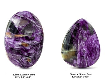Charoite Gemstone Cabochon - Lot of 2 Pieces - Pair Cabochon - Charoite Lot - Charoite Cabochon