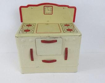 Vintage Wolverine 1950s Tin Child's Play Kitchen Stove Oven Metal Litho