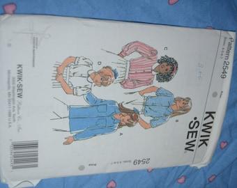 Kwik Sew 2549 Girls  BLouse Sewing Pattern - Size 4 5 6 7 - UNCUT