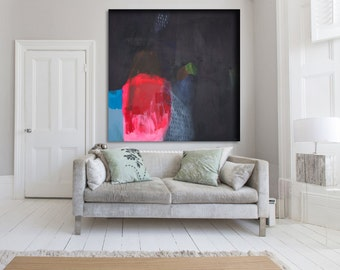 """Black, pink and red abstrac print of t painting with blue.Giclée print by Lola Donoghue """"Some Say Love"""""""