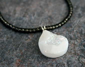 ZAZ Druzy, Mesh, and Sterling Necklace