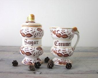 Brown Onion Sugar and Creamer Set