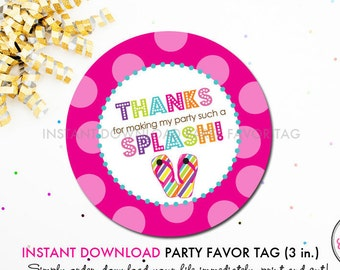 Flip Flop Splash Pool Party (Pink) - Printable 3 inch Birthday Party Favor Tags - Instant Download PDF File