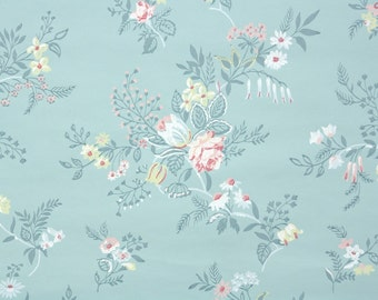 1940s Vintage Wallpaper by the Yard - Pink White and Yellow Flowers on Blue