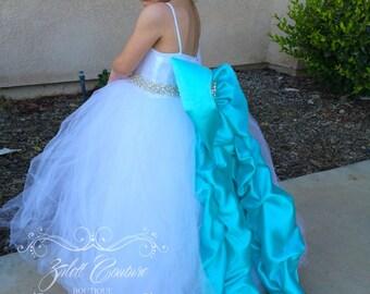 Flower Girl Dress - Lace Dress - Big Bow Dress -Wedding Dres- Girls Lace Dress