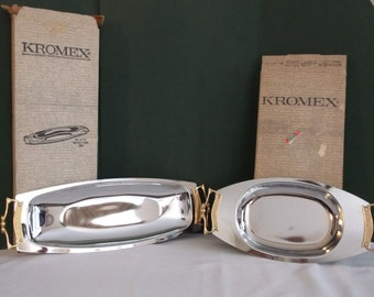 Set of 2 Kromex Serving platters, Relish dish and Bread tray, Mid Century