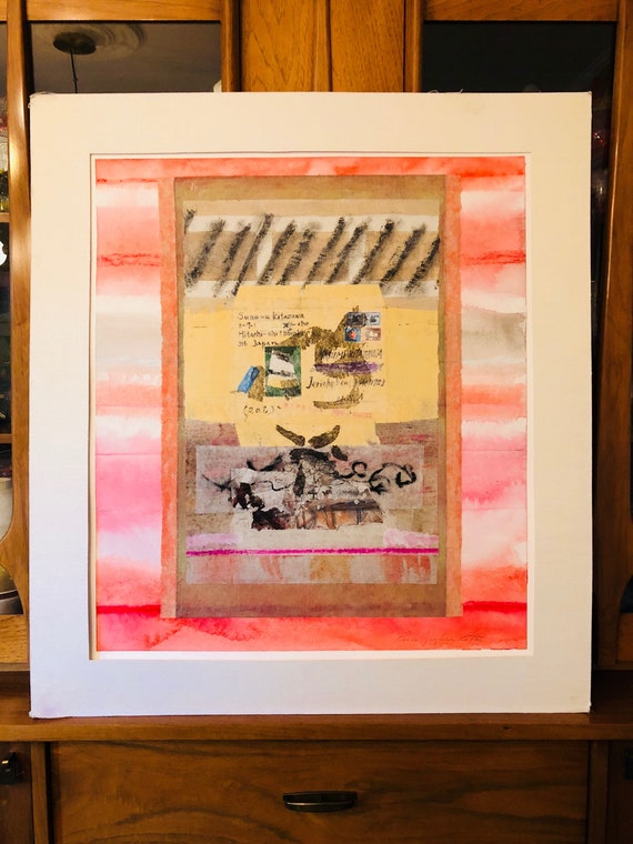 "Original Mixed Media Collage on Canvas by Artist Renee Ritter, ""Packet for a Friend"" - Watercolor + Paper Mache Abstraction - FREE SHIPPING"