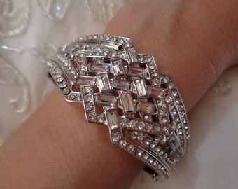 Art Deco vintage 1920's inspired bridal occasion bracelet silver 1930's Gatsby wedding bridal