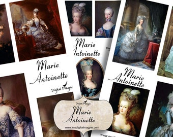 Marie Antoinette printable digital collage sheet instant download French craft images