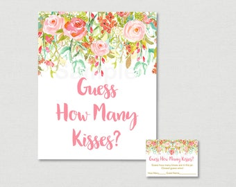 Pink Floral Guess How Many Kisses Bridal Shower Game / Floral Bridal Shower / Watercolor Floral / INSTANT DOWNLOAD B104