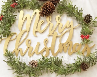 Merry Christmas Laser Cut Sign. Christmas Home Decor.