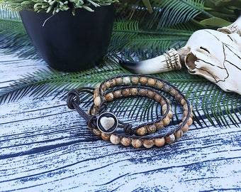 Double wrap natural jasper and leather bracelet