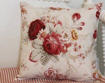 Norfolk Rose Floral Pillow Cover Farmhouse Pillow Cover French Country Pillow Cover [16x16]
