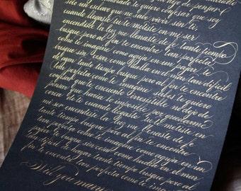 Custom Calligraphy Vows     : Handwritten First Anniversary Gift
