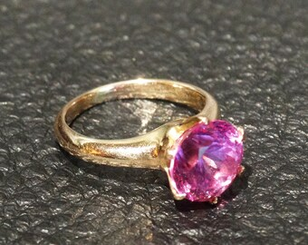 Pink Sapphire Ring, Yellow Gold, Estate, Engagement