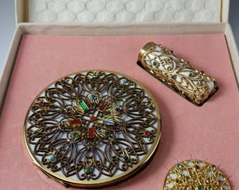 Vintage Czech Filigree Compact Set NOS In Box Jeweled Compact, Lipstick, Pill Box