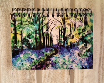 Bluebell Wood Spiral Bound Notebook - Bluebell Gift- Woodland Gift