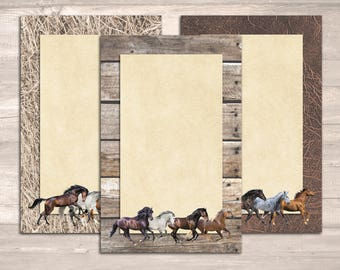 Horse Lover's Notepad Set: Three 50-Sheet Pads with Running Horses in Full Color and Exquisite Detail