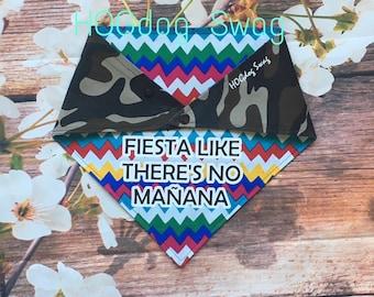 multi coloured zig zags and camo reversible dog bandana; fun bandana for dogs; cute dog bandana