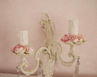 Applique wall candle holder
