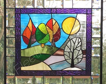 Stained Glass Panel Change of Seasons Colorful Handmade