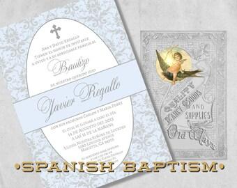 Baby Boy Baptism Invitations in Spanish - Blue and Silver Grey Damask - Bautizo Invitación for a Boy -  Elegant Printed Baptism Invitations