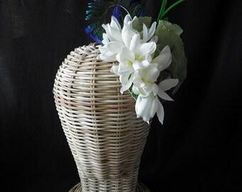 Katharine headpiece. Little fascinator with fabric flowers.