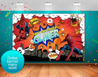 Superhero Banner,Superhero birthday,backdrop batman ,backdrop Spiderman,Party Spiderman,Spiderman backdrop,Spiderman  banner