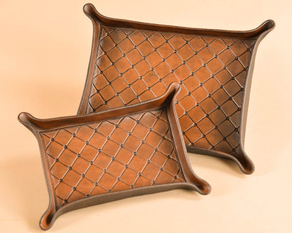 Carved Leather Dresser Tray or Catchall - Full Grain, Vegetable Tanned Leather