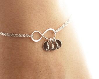 Infinity Bracelet, Personalized Infinity Initial Bracelet, Sterling Silver Initial Bracelet, Mother's Bracelet, Bridesmaids Gift, Dainty