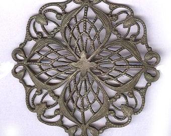"""Vintage fleuri, estampage en filigrane fantaisie stamping 2"""" de diamètre antique en filigrane estampage silvertone conclusion"""