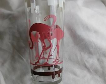 Vintage Mid Century Pink Flamingo Drinking Glass Tumbler