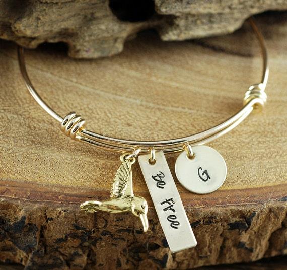 Gold Hummingbird Jewelry, Bee Free Bracelet, Bird Jewelry, Hummingbird Bracelet, Inspirational Bracelet, Stamped Initial Jewelry