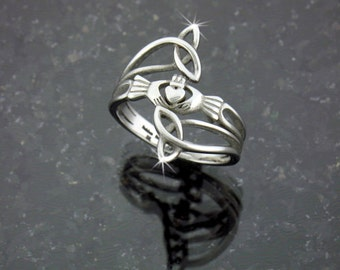 """Modern """"Take Me Home"""" Claddagh & Trinity Ring, Stainless Steel Ring, Claddaugh Ring, Irish Jewelry, Celtic Jewelry (S76)"""