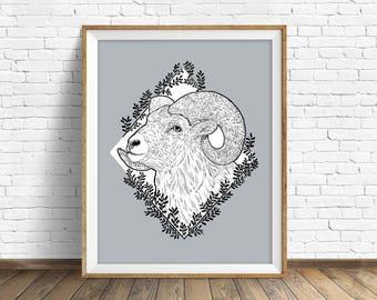 Rocky Mountain Bighorn - wall art, animal art print, woodland animal, large wall art, large art, bighorn sheep, ram, woodland nursery, print
