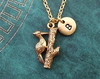 Woodpecker Necklace SMALL Woodpecker Jewelry Bird Pendant Necklace Gold Necklace Bird Jewelry Woodpecker Gift Bird Necklace Bridesmaid Gift