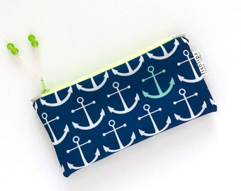 Navy Anchors Recycled Zipper Pouch, Nautical Eco Friendly Pencil Bag + Glass Bead Tassel, Handmade Stocking Stuffer, Bag for Boys