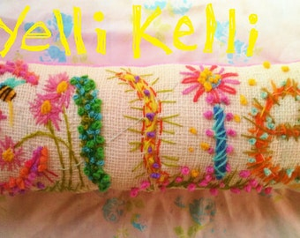 Freehand Embroidered Bohemian Letters Name Pillow Custom Made FIVE LETTERS YelliKelli