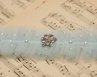 Wedding Garter Blue Tulle with crystals - Something Blue