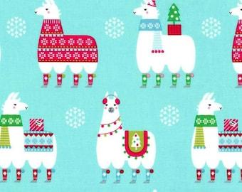 SALE - Michael Miller - Llama Navidad Collection - Llama Navidad in Aqua