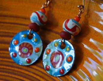 Boho-Chic Earrings, Enamel Earrings, Lampwork Earrings, Abstract Earrings, Modern Earrings, Ethnic Earrings, Bright Summer Earrings