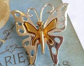 Beautiful butterfly brooch gold tone silver tone