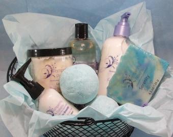 Spa Kit, Natural Skincare Gift Basket for Mom, Matron of Honor Trinket, Personalized Fragrance Set, Teen Valentine, Gift Under 50, Bath Set