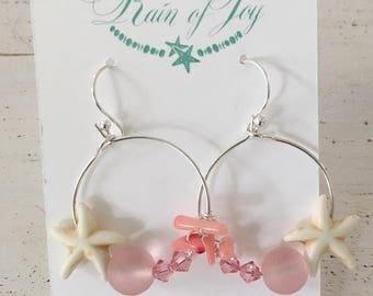 Pink sea glass hoop