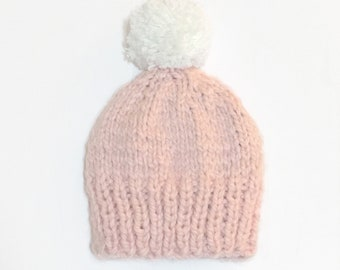 Pink Baby Beanie // Adult Beanie // baby shower // baby winter clothes // baby handmade knits // toddler beanie
