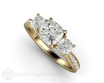 3 Stone Cushion Cut Moissanite Engagement Ring Forever One Three Stone Ring