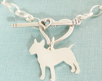 Bull Terrier Chain Bracelet, Sterling Silver Personalize Pendant, Breed Silhouette Charm, Rescue Shelter, Mothers Day Gift
