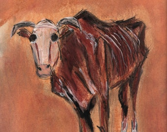 Cattle Pastel Study- Original Mixed Media on paper, framed