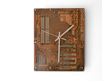 Circuit Board Wall Clock Geekery Brown Beige Office Home Decor and Housewares Computer Clock